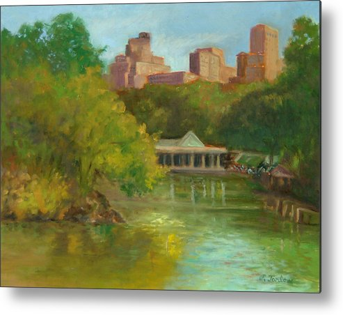 Landscape Metal Print featuring the painting Central Park New York Boathouse by Phyllis Tarlow