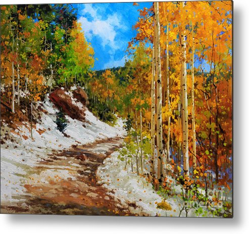 Aspen Tree Metal Print featuring the painting Golden aspen trees in snow by Gary Kim