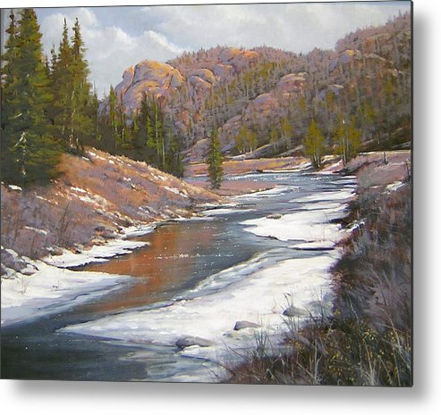 Landscape Metal Print featuring the painting 060112-2016 January Freeze  by Kenneth Shanika