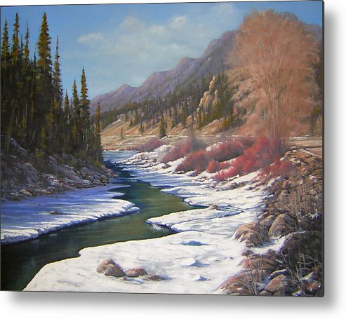 Landscape Metal Print featuring the painting 060328-2822  Remnants Of Winter  by Kenneth Shanika