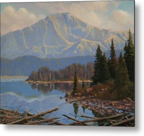 Pikes Peak Metal Print featuring the painting 080612-1620 Holding On To Summer - Study by Kenneth Shanika