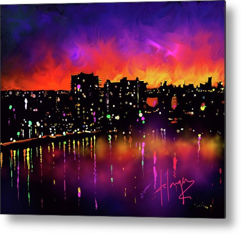 Miami Metal Print featuring the painting Biscayne Bay, Miami by DC Langer