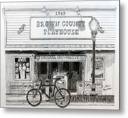 Bicycle Metal Print featuring the drawing Brown County Playhouse by Stan Hamilton