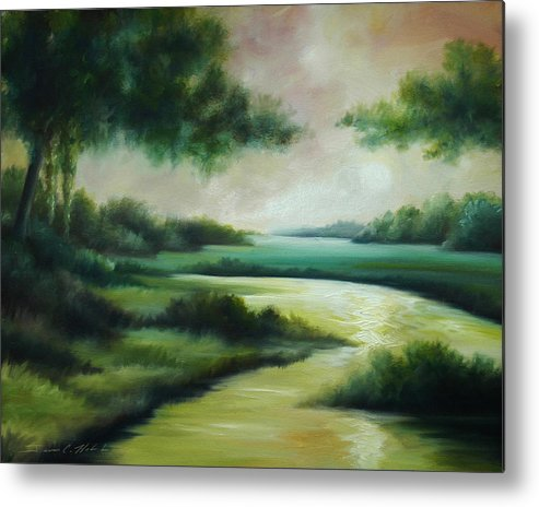 Bright Clouds; Sunsets; Reflections; Ocean; Water; Purple; Orange; Storms; Lightning; Contemporary; Abstract; Realism; James Christopher Hill; James Hill Studios; James C. Hilll; Forest; Flowers; Trees; Green; River; Water Metal Print featuring the painting Emerald Forest by James Christopher Hill
