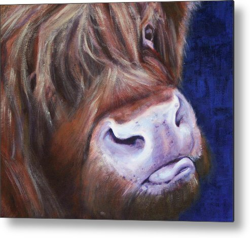 Highland Cow Metal Print featuring the painting Highland Cow by Fiona Jack