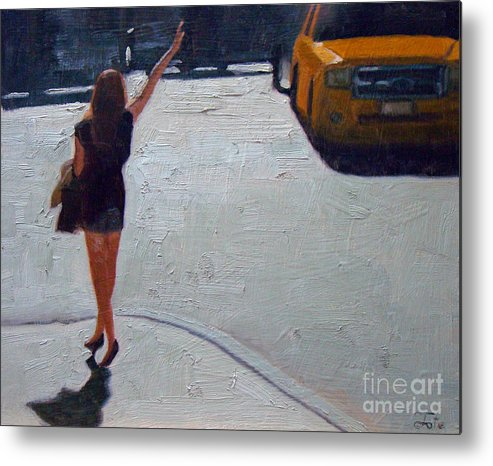 Woman Metal Print featuring the painting How to hail a cab by Tate Hamilton