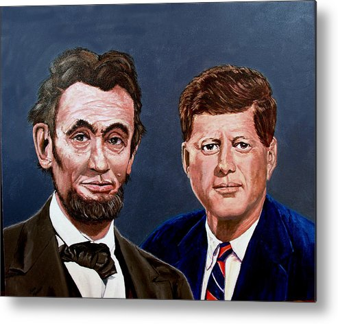 Lincoln Metal Print featuring the painting Lincoln and Kennedy by Stan Hamilton