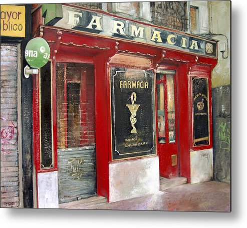 Farmacia Metal Print featuring the painting Old Pharmacy by Tomas Castano