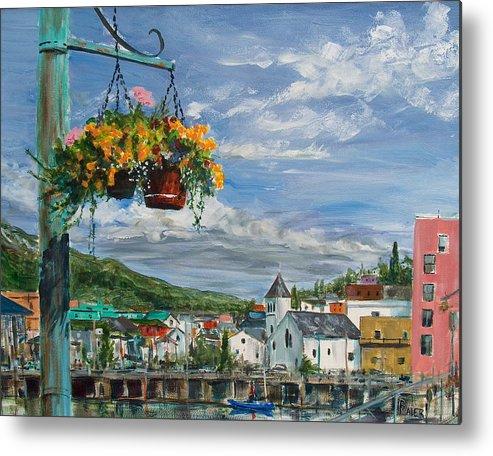 Flowers Metal Print featuring the painting Street Flowers by Pete Maier