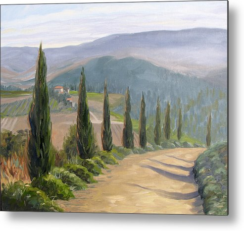 Landscape Metal Print featuring the painting Tuscany Road by Jay Johnson