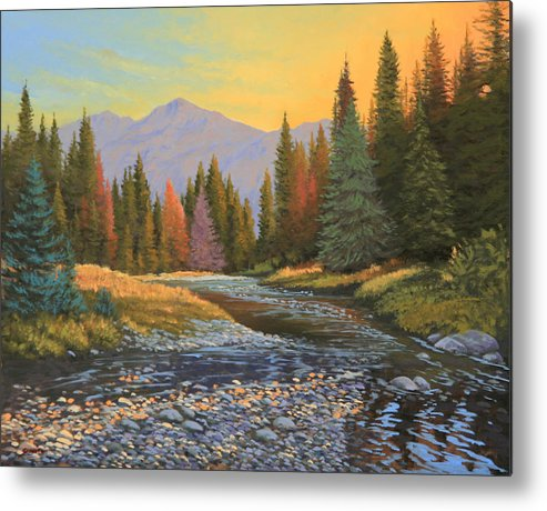 Sunrise Metal Print featuring the painting 100808-1620  The Kiss of Dawn by Kenneth Shanika