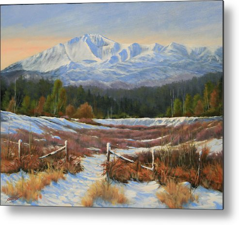 Pikes Peak Metal Print featuring the painting 101202-1620 Winter Wonderland by Kenneth Shanika