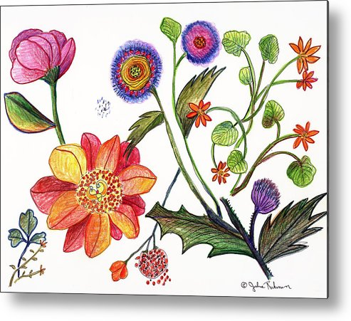 Flowers Nature Botany Drawing Julie Richman Flora Pencil Metal Print featuring the painting Botanical Flower-45 odd flowers by Julie Richman