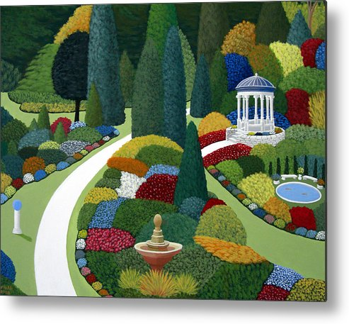 Landscape Paintings Metal Print featuring the painting Formal gardens by Frederic Kohli