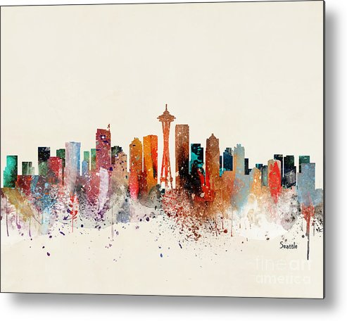 Seattle Cityscape Metal Print featuring the painting Seattle Skyline by Bri Buckley