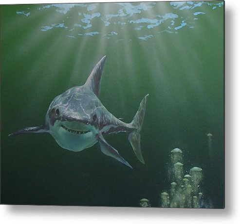 Shark Metal Print featuring the painting Untitled 3 by Philip Fleischer