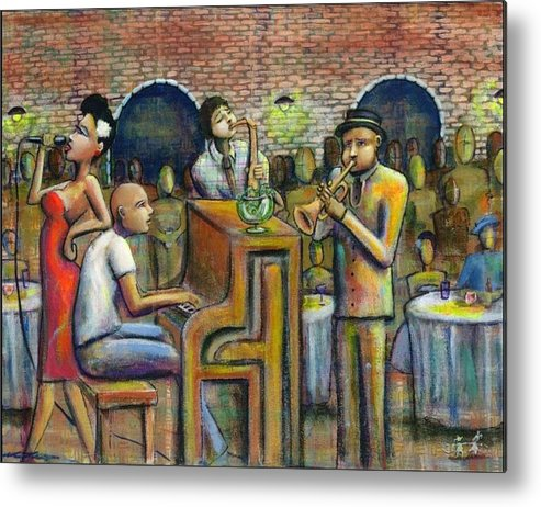 Jazz Metal Print featuring the painting A Damn Good Night by Nelson Perez