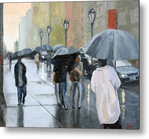 Cityscape Metal Print featuring the painting A day for umbrellas by Tate Hamilton