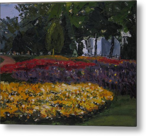 Landscape Metal Print featuring the painting A Park in Cambrige by Piety Choi