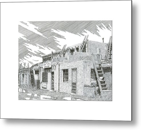 Images Of Acoma Sky City Acoma Metal Print featuring the drawing Acoma Sky City by Jack Pumphrey
