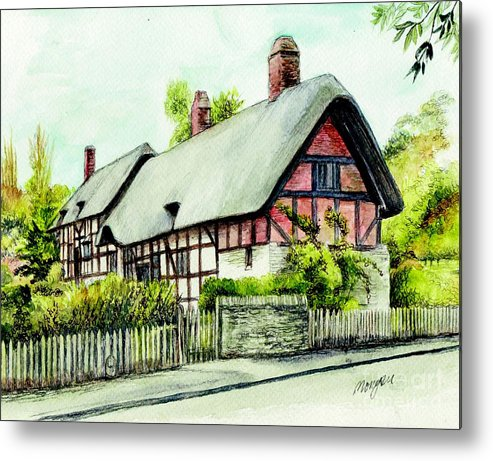 Anne Metal Print featuring the painting Anne Hathaway Cottage England by Morgan Fitzsimons
