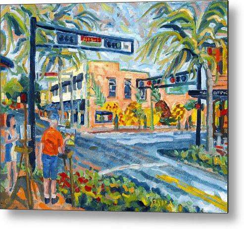 Florida Scape Artists Metal Print featuring the painting Artists on the Avenue by Ralph Papa
