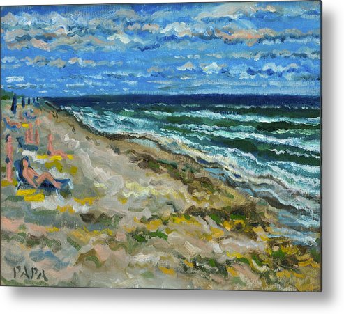 Beach Metal Print featuring the painting At the Beach by Ralph Papa