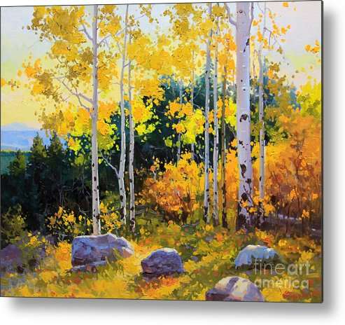 Nature Metal Print featuring the painting Autumn beauty of Sangre de Cristo mountain by Gary Kim