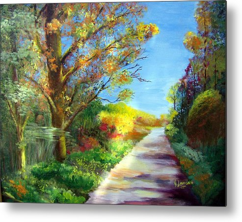 Landscape Metal Print featuring the painting Autumn Roads by Julie Lamons