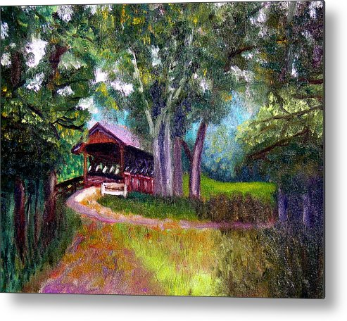 Covered Bridge Metal Print featuring the painting Avon Covered Bridge by Stan Hamilton