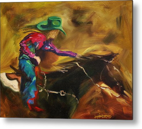 Western Art Metal Print featuring the painting Barrel Racer by Diane Whitehead