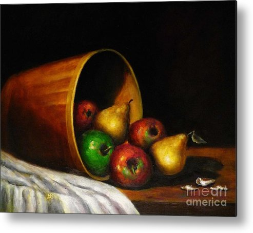 Still Life With Fruits Metal Print featuring the painting Basket With Fruits by MM Zurahov