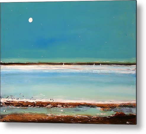 Minimalist Art Metal Print featuring the painting Beach Textures by Toni Grote