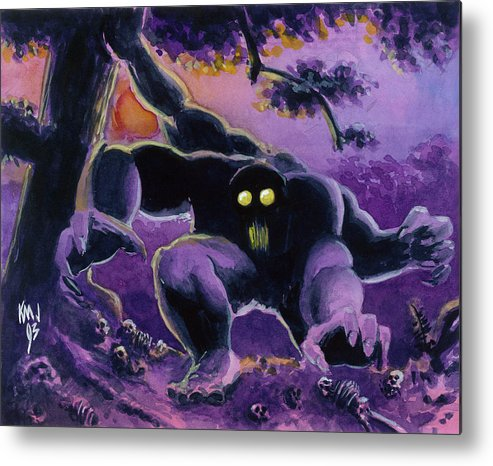 Guardian Beast Metal Print featuring the painting Beast by Ken Meyer jr