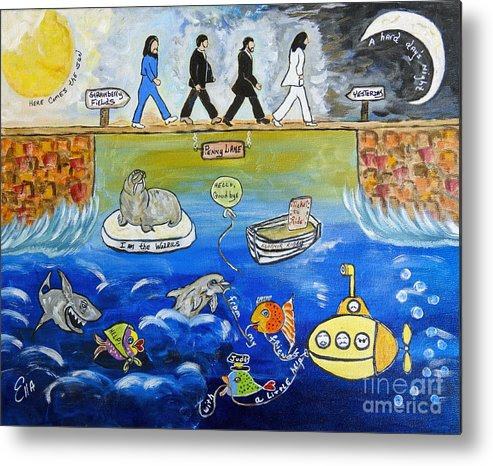 The Beatles Metal Print featuring the painting Beatles Song Titles Original Painting Characterization by Ella Kaye Dickey