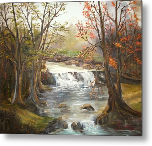 Landscape Metal Print featuring the painting Below the falls by Kenneth LePoidevin