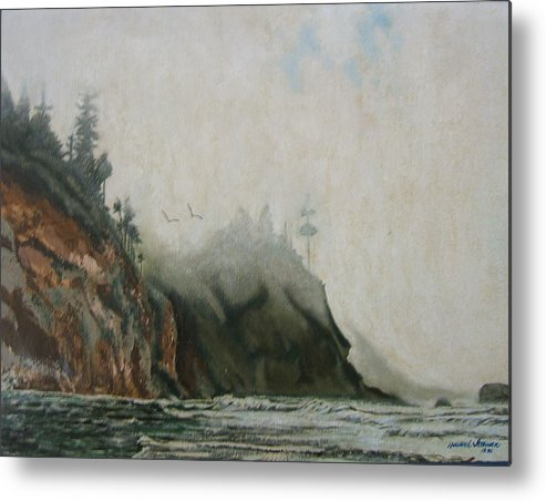 Fog Shrouded Mountains And Water Metal Print featuring the painting Big Sur by Howard Stroman