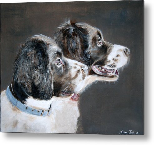Dogs Metal Print featuring the painting Bill and Ollie by Fiona Jack