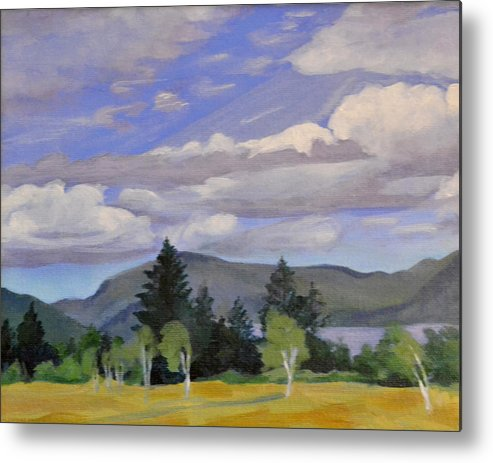 Clouds Metal Print featuring the painting Birches in the Wind by Mary Chant