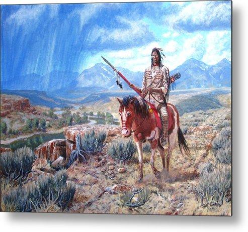 Blackfoot Warrior Metal Print featuring the painting Blackfoot Warrior by Scott Robertson