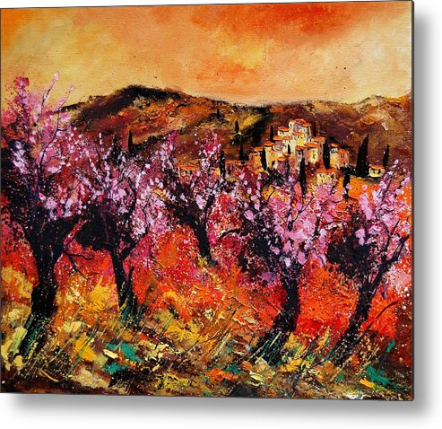 Provence Cherrytree Summer Spring Metal Print featuring the painting Blooming cherry trees by Pol Ledent