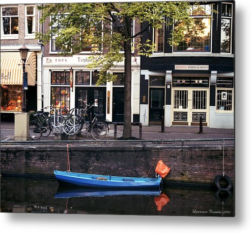 Amsterdam Metal Print featuring the photograph Blu Boat by Lawrence Costales