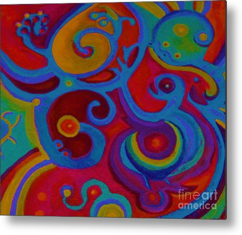 Abstract Metal Print featuring the painting Blue Corn Flower by Sidra Myers