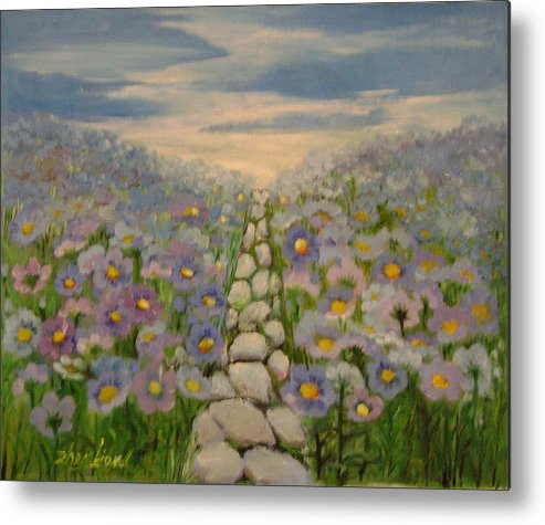 Floral Metal Print featuring the painting Blue Vibration by Lian Zhen
