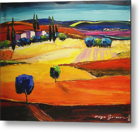 Artwork Metal Print featuring the painting Blues by Maya Green