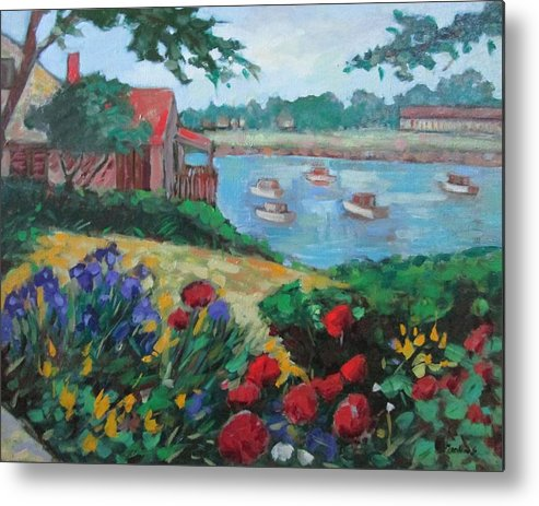 Ogunquit Metal Print featuring the painting Boats in Ogunquit by Marilene Sawaf