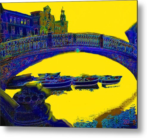 Seville Metal Print featuring the digital art Boats Under The Bridge by Ian MacDonald