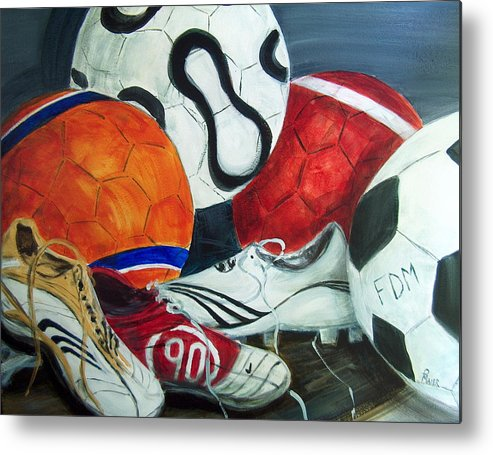 Soccer Metal Print featuring the painting Boots N Balls by Pete Maier