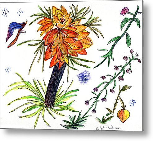 Drawing Nature Botany Flowers Abstract Art Metal Print featuring the painting Botanical flower with insect. by Julie Richman