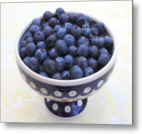 Blueberries Metal Print featuring the photograph Bowl Of Blueberries by Carol Groenen